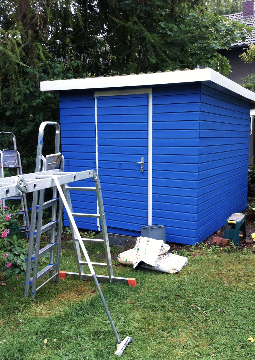 Gartenhaus blau