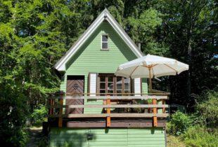 Hütte grün streichen